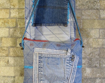 Patchwork jeans bag