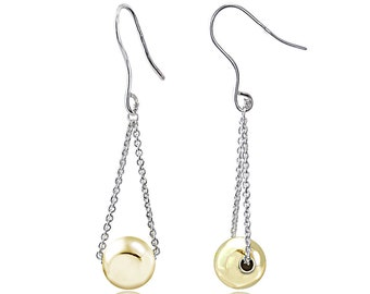 Two-tone Sterling Silver Ball Bead Cable Chain Fish Hook Earrings