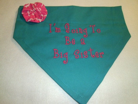Big Sister, Dog Bandana, I'm Going to be a Big Sister, Over the Collar Dog Bandana, Baby Announcement
