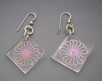 Dichroic Glass Laser Cut Pinwheel Multicolor Square Earrings with Sterling Ear Wires KHE1526