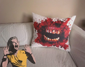 18x18 Horror Mouth Halloween monster zombie pillow zombie bedding