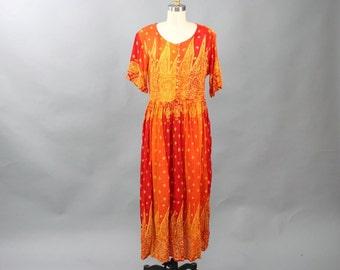 1990s festival dress, rayon maxi dress . red, orange and yellow dress . India print flowy hippie dress . back corset lace dress medium large