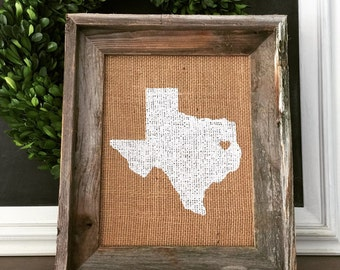 Barnwood Frame, Burlap State Print in White, Any State, Farmhouse, Shabby Chic, Cottage