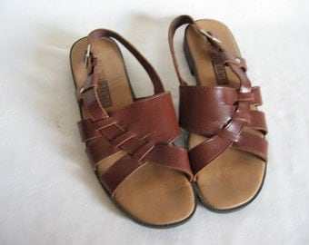 Vintage 80's Brown Leather Sandals Size 9 flats slingback shoes EXC