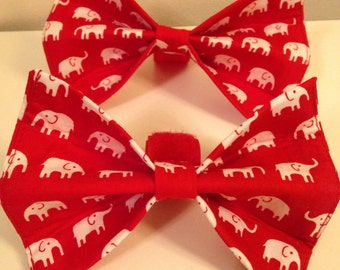 Red with White Elephants Alabama Dog Bow Tie in Small, Medium or Large