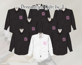 Wedding Shirt, Bridesmaids Gift, Monogrammed Oversize Button Down, Bridal Party Shirt, Set of 2, Personalized, Oversized, Bridesmaid Shirt