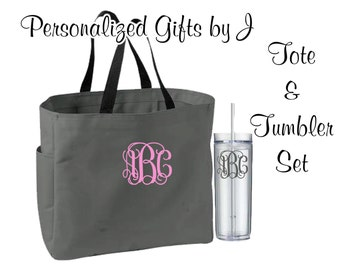 12 Personalized Bridesmaid Gift Tote Bags and Tumblers Set, Personalized Tote, Bridesmaids Gift, Monogrammed Tote, Getting Ready Bag