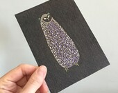 Owl Illustration Original Drawing Art No. 49 - Colored Pencil, oil pastels and Marker in Black and purple dark colors - affordable art OOAK
