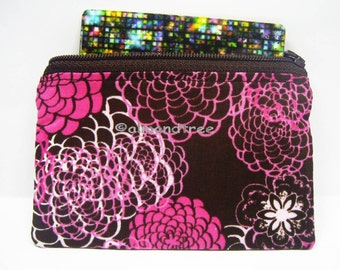 Flower gift for her, women wallet, id card case, coin purse id1370606 portemonnaie moneybag small zipper pouch, portefeuille