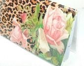 2016 - 2017 mini Planner - Leopard Roses - pocket planner - two year planner - 2 year monthly planner - pink roses leopard print horizontal