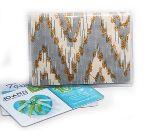 gold and gray ikat chevron mini debit card holder - hipster wallet - credit card case - business card case or holder - cream and grey