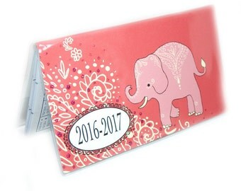 2016 - 2017  mini Planner - Mehndi Elephants pocket planner - two year planner - 2 year monthly planner HORIZONTAL FORMAT or 2017 thru 2018
