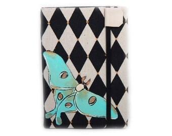 Kindle Paperwhite cover - Luna Moth - handpainted OOAK - case for Kindle eReader - harlequin diamond print - mint, ivory, black