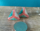RESERVED for Patti:  Shell Beach - Coral and Aqua Geometric Stud Earrings
