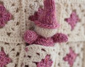 Heirloom Baby Gift - Wool Granny Square Blanket with Hand Knit Gnome and Pocket