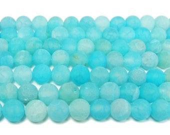 Light Sea Blue Matte Agate Round Gemstone Beads
