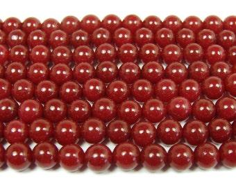Ruby Jade Round Gemstone Beads