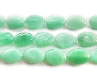 Green Aventurine Puffed Oval Gemstone Beads