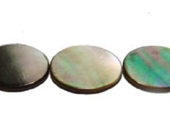 Black Sea Shell Double Sided Oval Beads