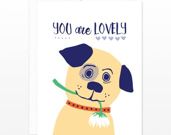 Cute Valentine's Day Card, Puppy Dog Card - You Are Lovely Greeting Card - Dating Card, Card for Girlfriend, Boyfriend, Friendship Card