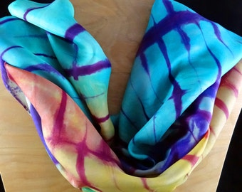 Shibori/Itajime silk scarf