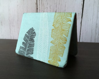 Card Wallet - Teal Feathers