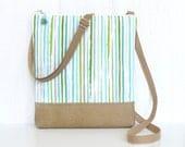 SALE - Small Crossbody Purse, Zipper Cross Body Bag, Fabric Hip Bag - Hampton Stripe in Aqua, Green, Tan and White