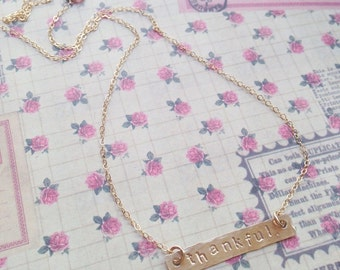 Custom Hand Stamped Gold Filled Bar Necklace
