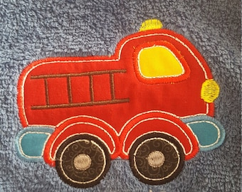 Fire truck embroidered hooded towel, Fire truck, firetruck towel, Personalized hooded towel, Children's personalized hooded towel, Firetruck