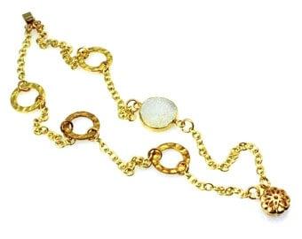 White Druzy Bracelet, Druzy Bracelet, Druzy Jewelry, White Druzy Jewelry, Natural Drusy Jewelry, Multi Strand Bracelet, Multi Strand Jewelry