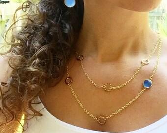 Chalcedony Necklace, Blue Necklace, Chalcedony Jewelry, Blue Gemstone Necklace, Blue Stone Necklace, Blue Chalcedony, Aqua Blue Necklace
