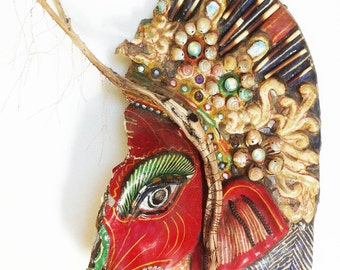 Eye of Ganesh, mixed media assemblage, Hindu God,Ganesha, elephant,mask,mixed media art, assemblage art,eye, OOAK assemblage, art, sculpture