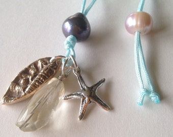 The Starfish Story Adoption or Volunteer Symbol Bronze And Sterling Silver Necklace With Genuine Citrine And Pearls