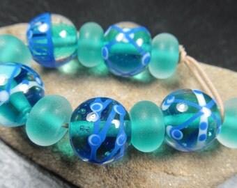 Aqua and cobalt encased lampwork bead set