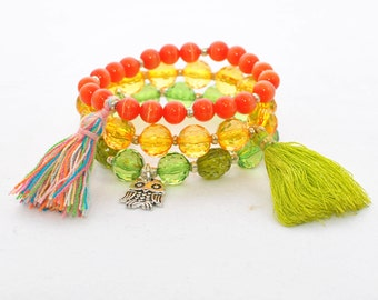 Boho Chic Bohemian Elastic Stretch bracelets Stackable Beaded Crystal Stretch Bracelet Tassel Razzle Dazzle - Yellow Green Orange Bracelets