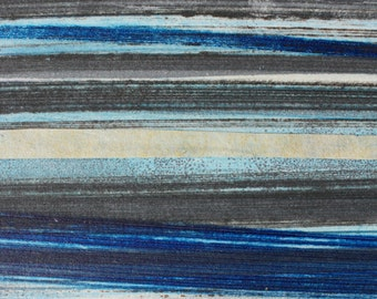 Stripes 95 - blue, brown, gray striped Collagraph hand-pulled print - 4.25 x 4.25 inches OOAK
