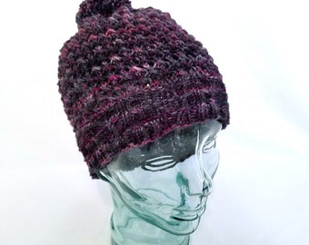 Hand Knit Hat, Slouch Hat, Soft Knitted Hat, Cloche Hat, Slouchy Beanie, Knit Toque, Winter Hat, Pom Pom - Ready to Ship