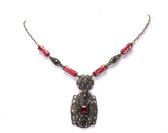 An Antique Art Deco Czech Glass Filigree Necklace Solid Sterling Silver Marcasite Details Antique Rose Pink Circa 1920