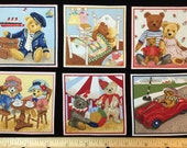 TEDDY Bears Fabric Squares VINTAGE Toys 8 Appliques Makower UK Labels Iron On