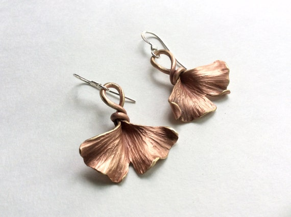 Bronze Ginkgo Leaf Earrings - made to order