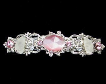 Sparkling Hair Barrette with Light Pink Cabochon  Crystals and Beach Glass