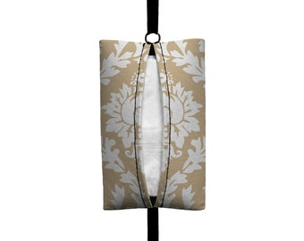 Auto Sneeze - Damask - Visor Tissue Case/Cozy - Car Accessory Automobile - Light Tan Beige White Floral