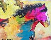 Horse & Birds Original Painting by Caren Goodrich