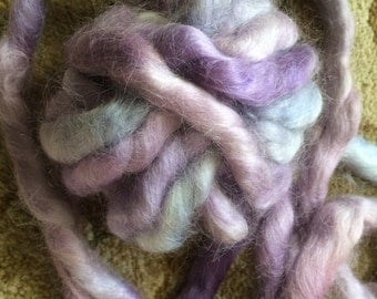 7.8 ounces-100% Hand dyed Mohair Roving-Tranquility-Purple, Lavender, Blue-Spinning, Drop Spindle