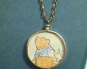 Vintage Glass Locket Whinnie the Pooh and Piglet English Charm Necklace from Hoolala Vintage