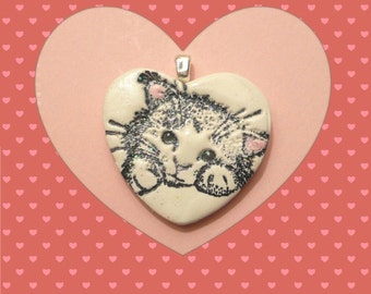 Valentine's Day Gift, Cat Jewelry, Sweet Cat Heart Pendant, Optional Necklace, Kitty Jewelry, handmade polymer clay