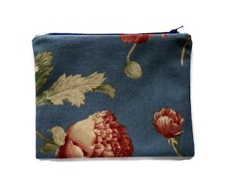 Blue Red Botanical Pouch, clutch bag, travel , cord cozy, Linen Fabric Floral Zipper Pouch, fabric bag, gadget case, purse organizer, makeup