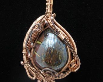Boulder Opal Copper Wire Wrap Pendant