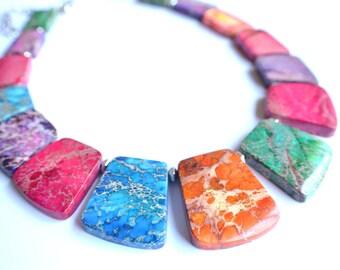 The Martinique- Multi Color Jasper Statement Necklace