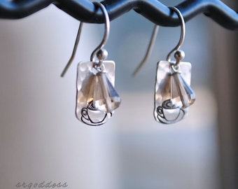 MOCHA JAVA hammered sterling silver and smoky quartz earrings by srgoddess